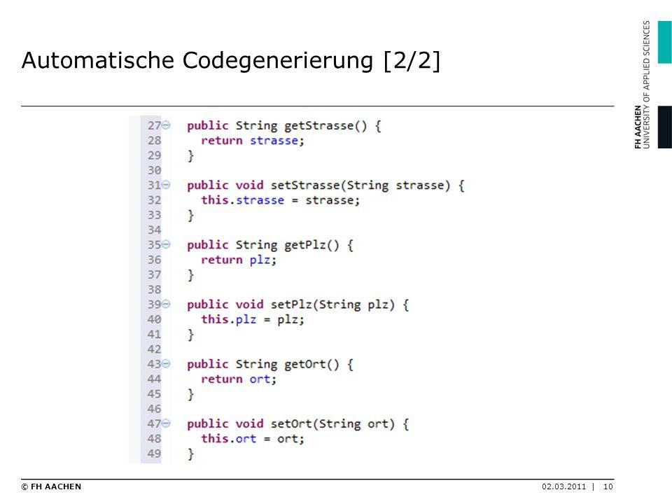 Automatische Codegenerierung [2/2]